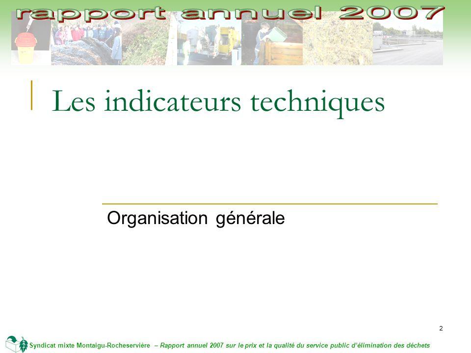 2 Syndicat mixte Montaigu-Rocheservière – Rapport annuel 2007 sur le prix et la qualité du service public délimination des déchets Les indicateurs techniques Organisation générale