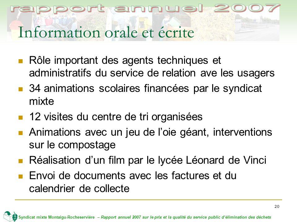 20 Syndicat mixte Montaigu-Rocheservière – Rapport annuel 2007 sur le prix et la qualité du service public délimination des déchets Information orale