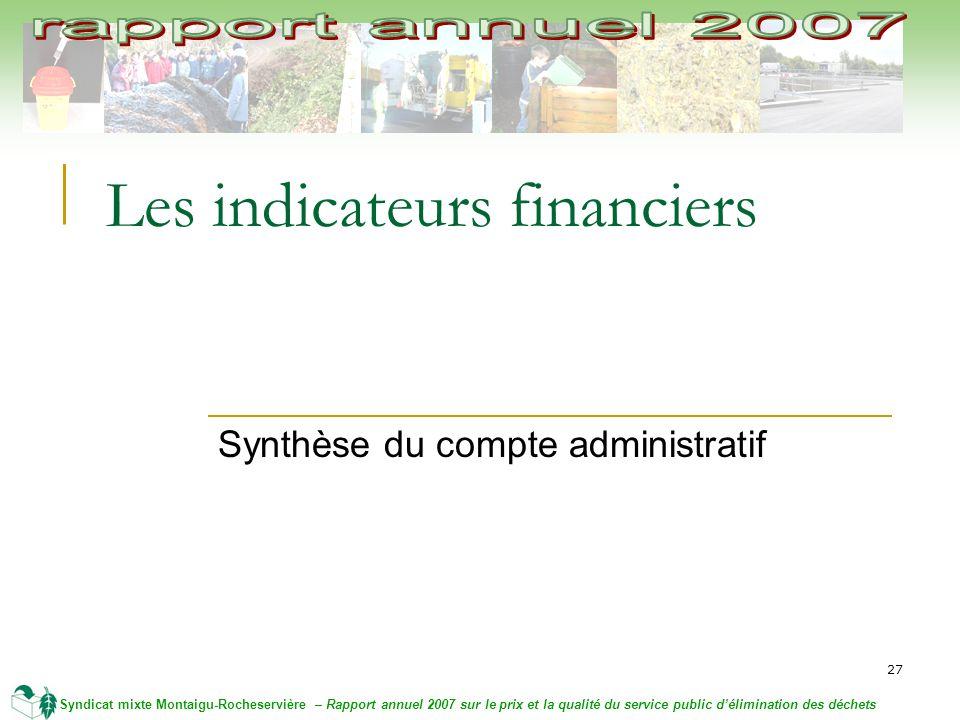 27 Syndicat mixte Montaigu-Rocheservière – Rapport annuel 2007 sur le prix et la qualité du service public délimination des déchets Les indicateurs financiers Synthèse du compte administratif