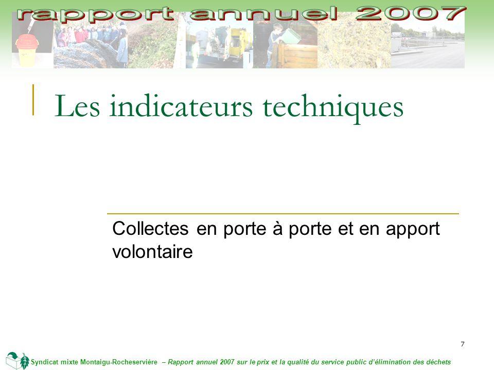 7 Syndicat mixte Montaigu-Rocheservière – Rapport annuel 2007 sur le prix et la qualité du service public délimination des déchets Les indicateurs techniques Collectes en porte à porte et en apport volontaire
