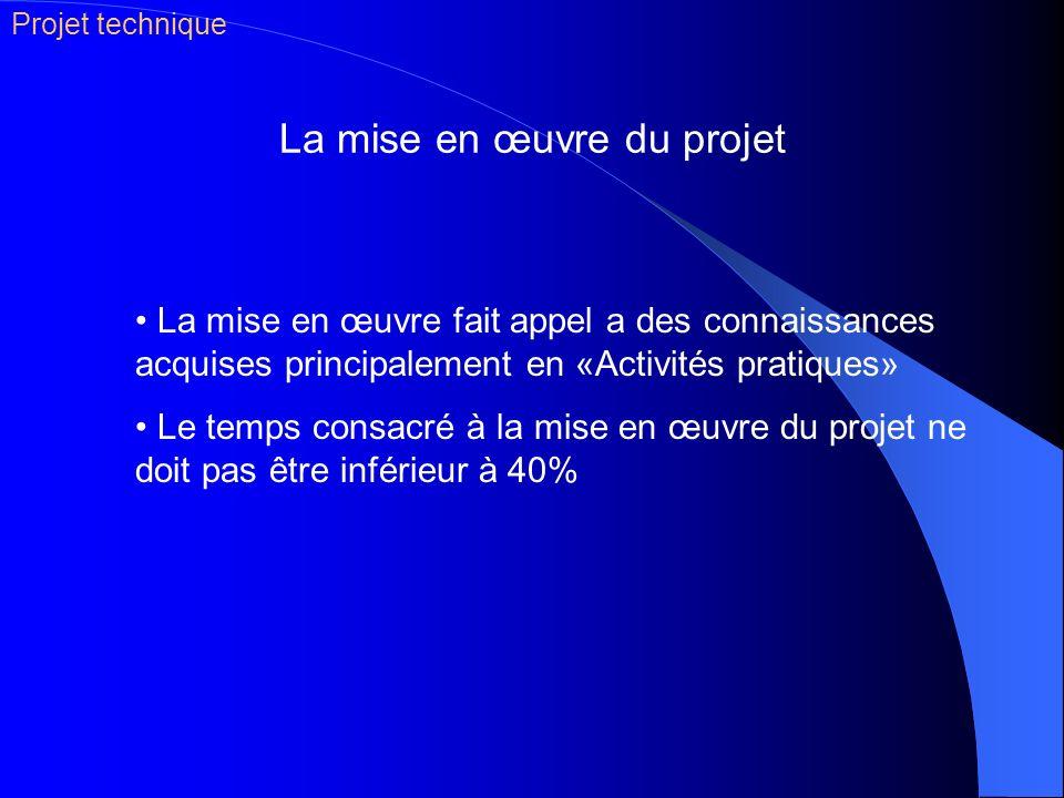La mise en œuvre du projet La mise en œuvre fait appel a des connaissances acquises principalement en «Activités pratiques» Le temps consacré à la mis