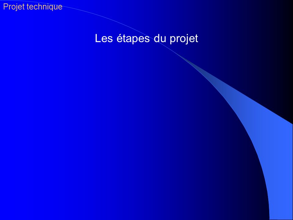 Les étapes du projet Projet technique