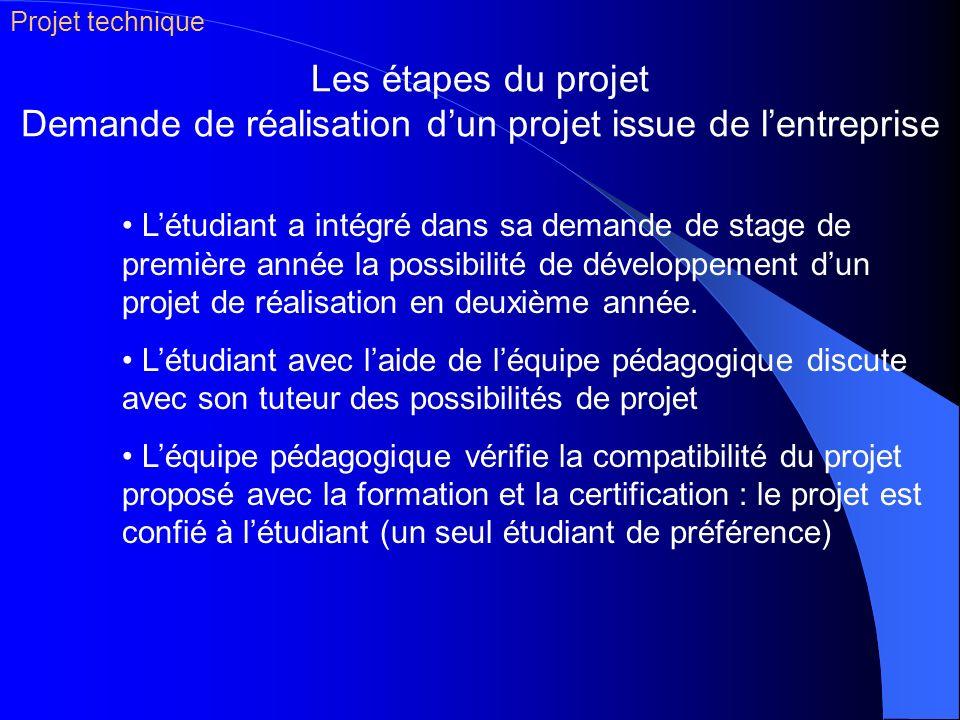 Les étapes du projet Demande de réalisation dun projet issue de lentreprise Létudiant a intégré dans sa demande de stage de première année la possibil