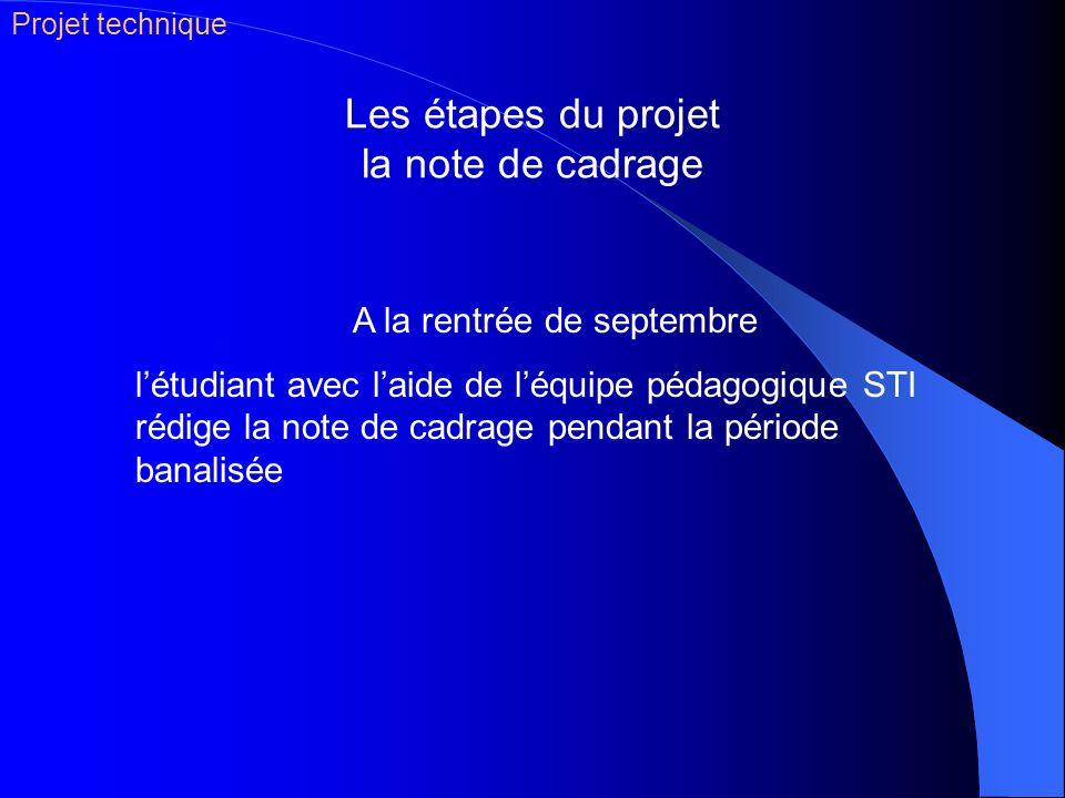 Les étapes du projet la note de cadrage A la rentrée de septembre létudiant avec laide de léquipe pédagogique STI rédige la note de cadrage pendant la