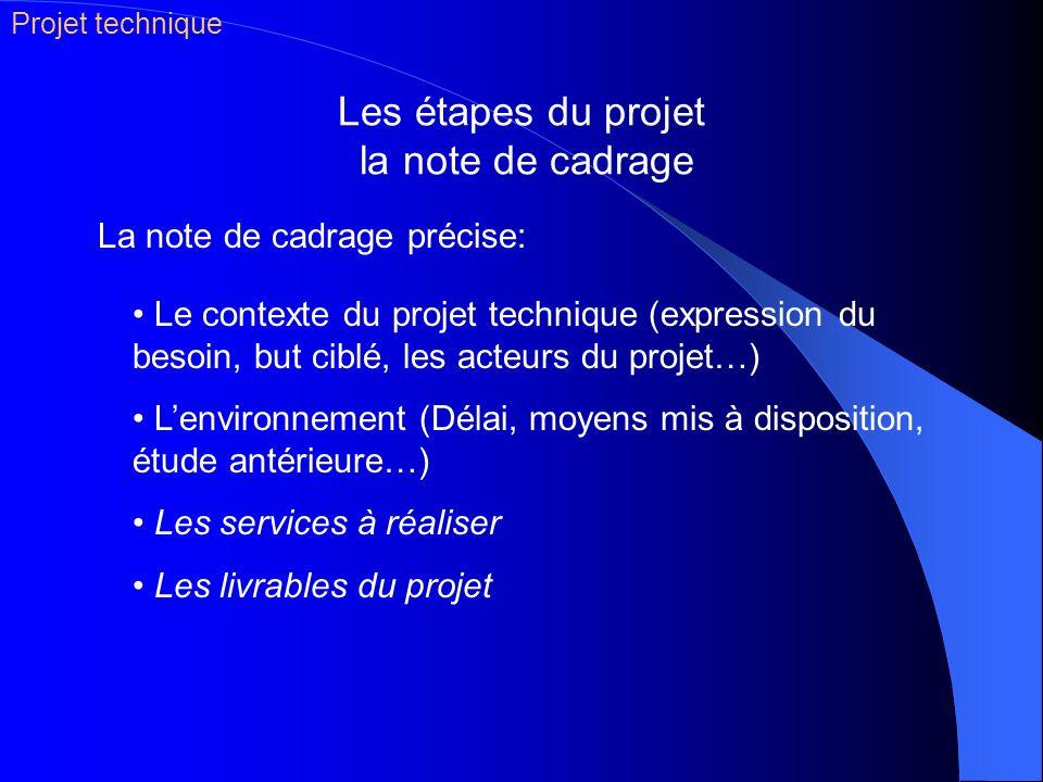 Les étapes du projet la note de cadrage Le contexte du projet technique (expression du besoin, but ciblé, les acteurs du projet…) Lenvironnement (Déla