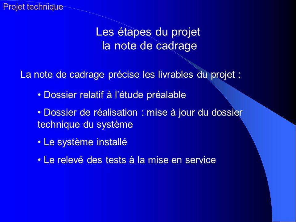 Les étapes du projet la note de cadrage Dossier relatif à létude préalable Dossier de réalisation : mise à jour du dossier technique du système Le sys