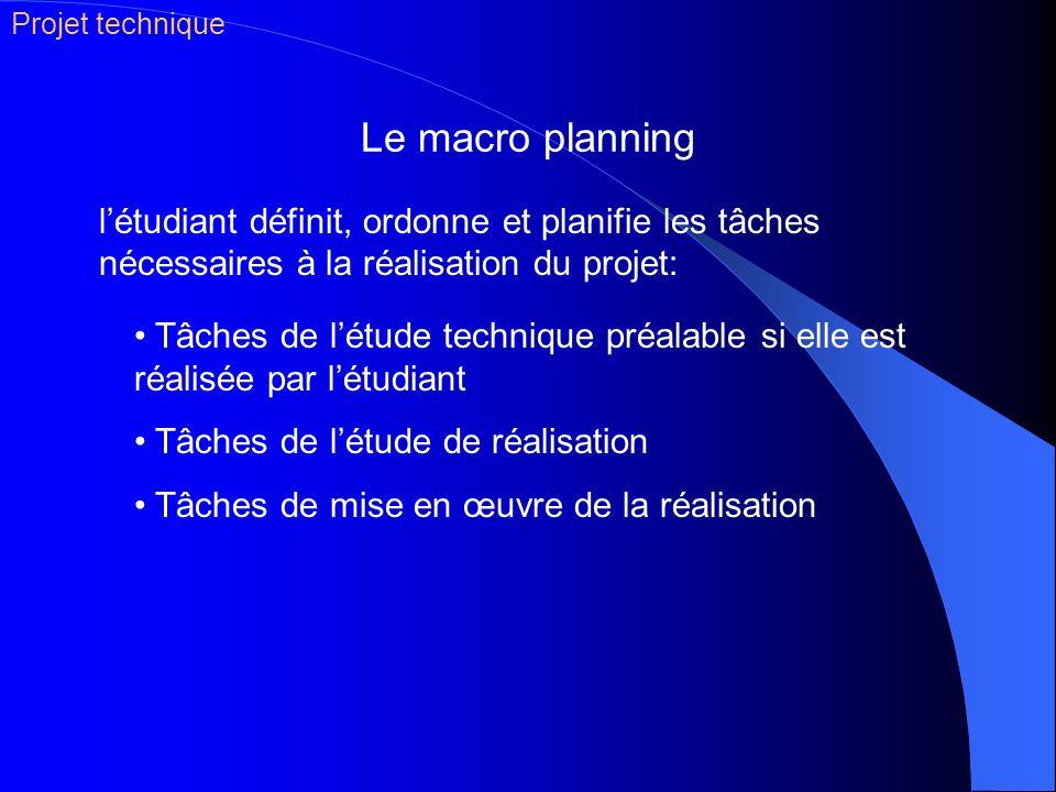 Le macro planning Tâches de létude technique préalable si elle est réalisée par létudiant Tâches de létude de réalisation Tâches de mise en œuvre de l