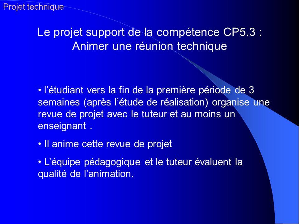 Le projet support de la compétence CP5.3 : Animer une réunion technique létudiant vers la fin de la première période de 3 semaines (après létude de ré