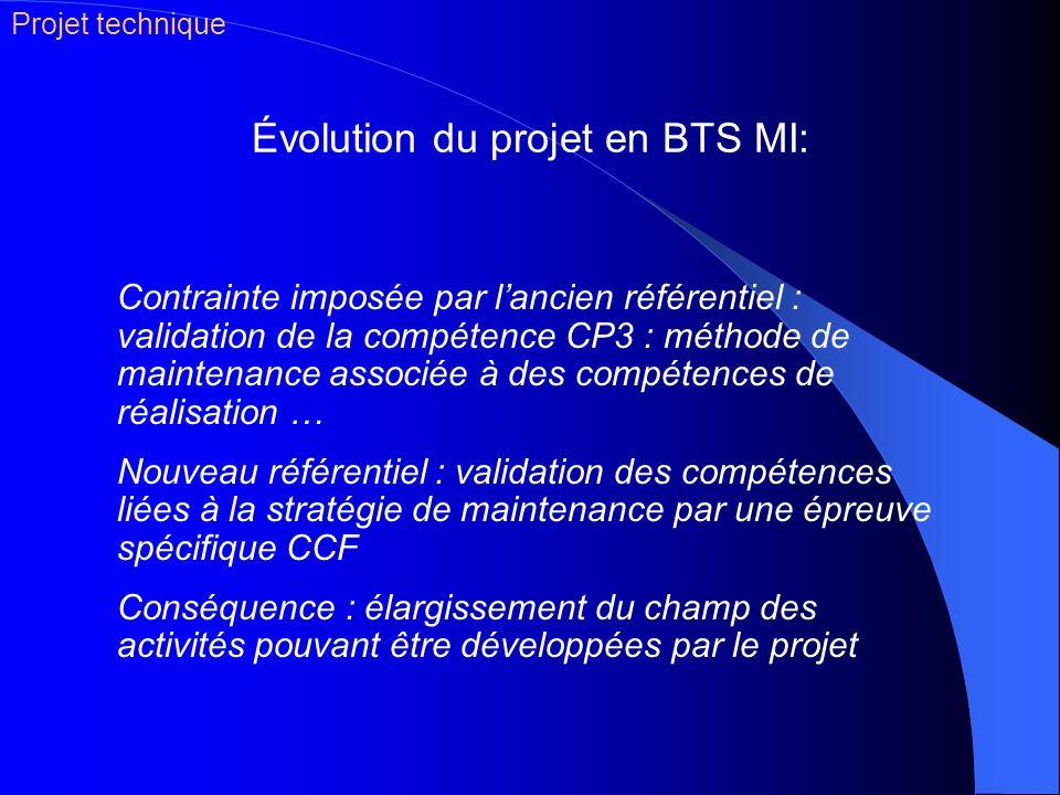 Évolution du projet en BTS MI: Contrainte imposée par lancien référentiel : validation de la compétence CP3 : méthode de maintenance associée à des co