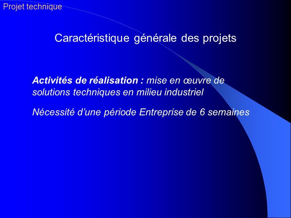 Caractéristique générale des projets Activités de réalisation : mise en œuvre de solutions techniques en milieu industriel Nécessité dune période Entr