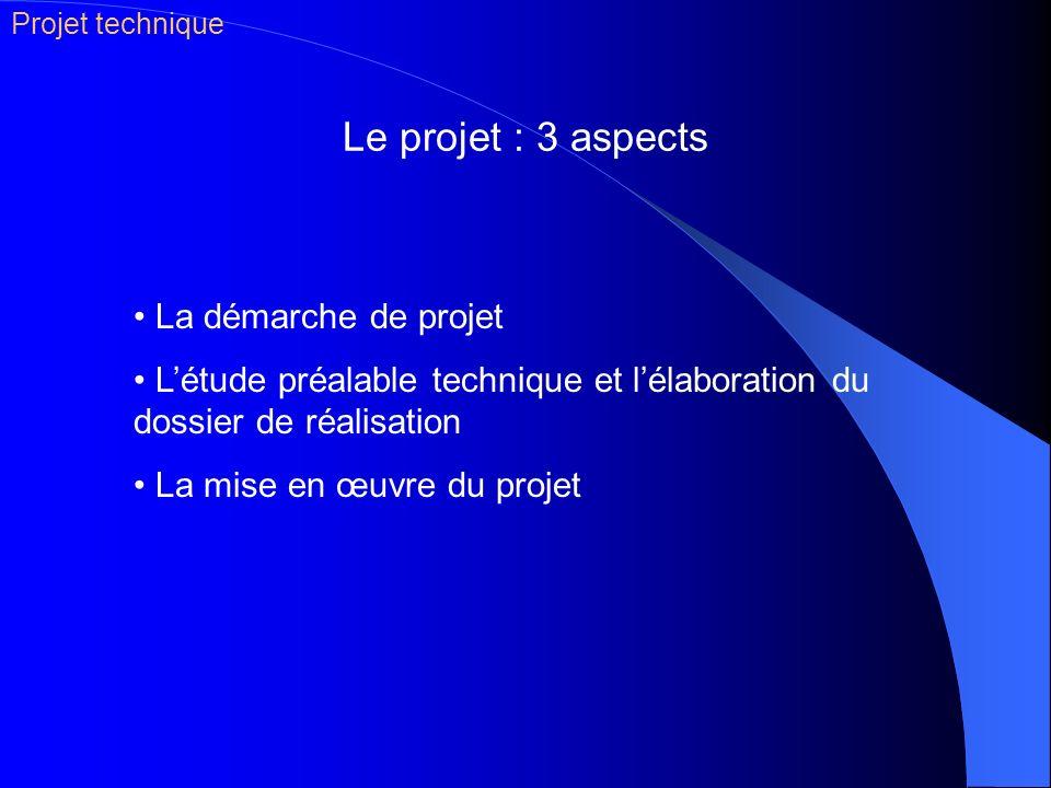 Le projet : 3 aspects Projet technique La démarche de projet Létude préalable technique et lélaboration du dossier de réalisation La mise en œuvre du