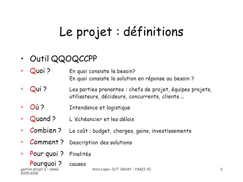 gestion projet 2 - année 2005-2006 Alain Lopes -IUT ORSAY - PARIS XI3 Découpage de projet Plan 1.