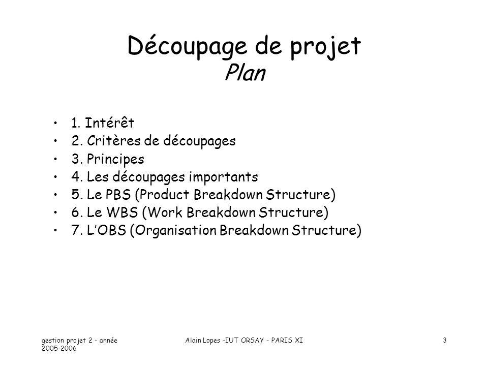 gestion projet 2 - année 2005-2006 Alain Lopes -IUT ORSAY - PARIS XI4 Intérêt Faire face à la complexité en classant et hiérarchisant Faciliter la compréhension et la manipulation Essayer de ne rien oublier