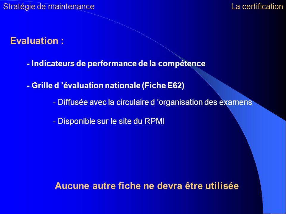 Evaluation : - Indicateurs de performance de la compétence - Grille d évaluation nationale (Fiche E62) - Diffusée avec la circulaire d organisation de