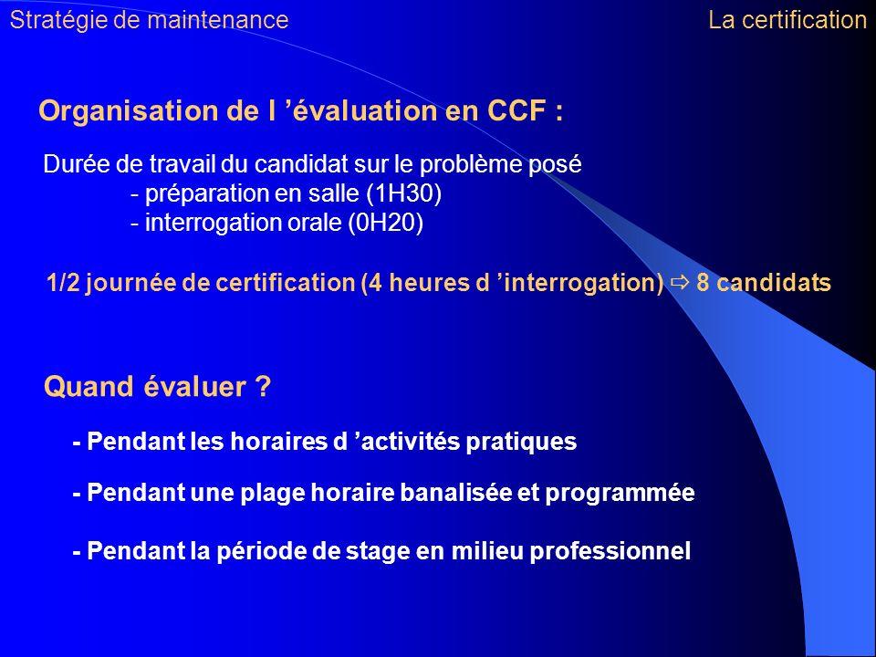 Quand évaluer ? Organisation de l évaluation en CCF : - Pendant les horaires d activités pratiques Durée de travail du candidat sur le problème posé -