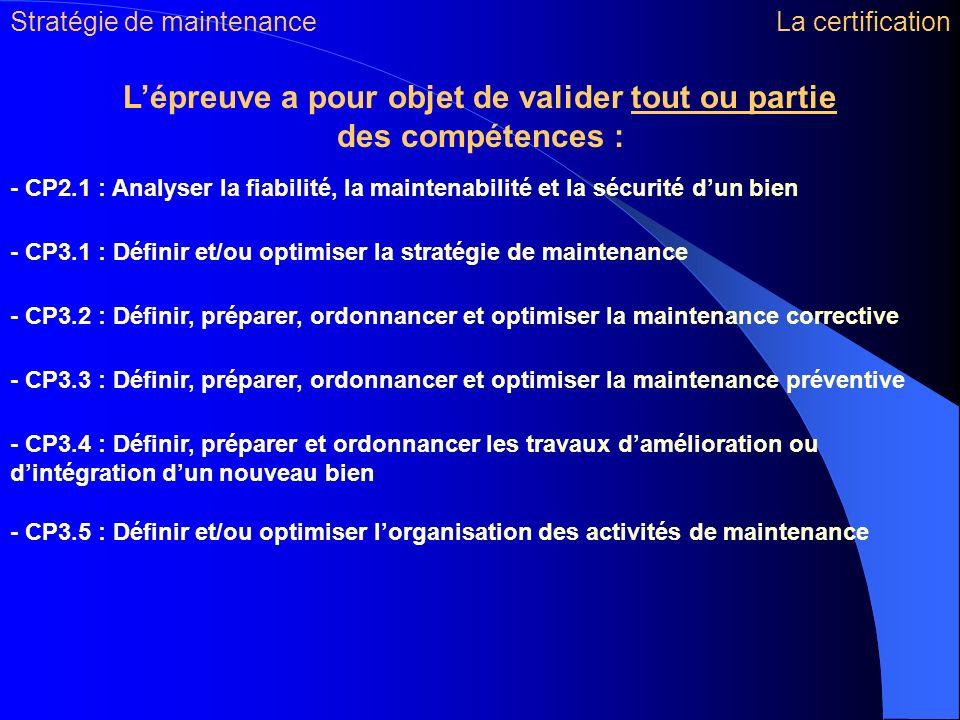 - CP2.1 : Analyser la fiabilité, la maintenabilité et la sécurité dun bien - CP3.1 : Définir et/ou optimiser la stratégie de maintenance - CP3.2 : Déf