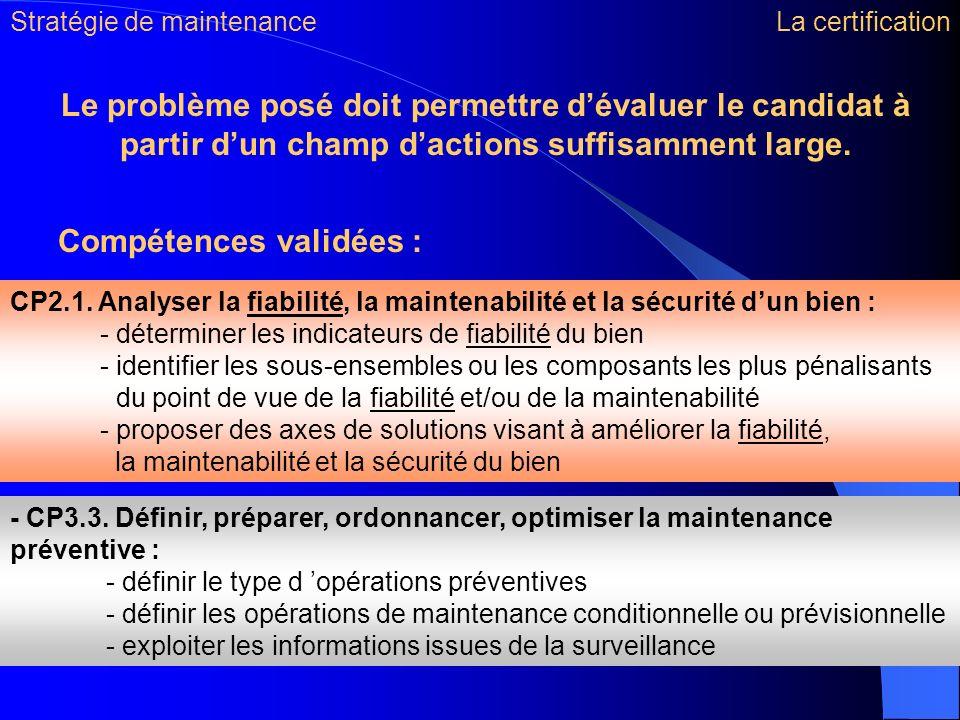 Compétences validées : CP2.1. Analyser la fiabilité, la maintenabilité et la sécurité dun bien : - déterminer les indicateurs de fiabilité du bien - i