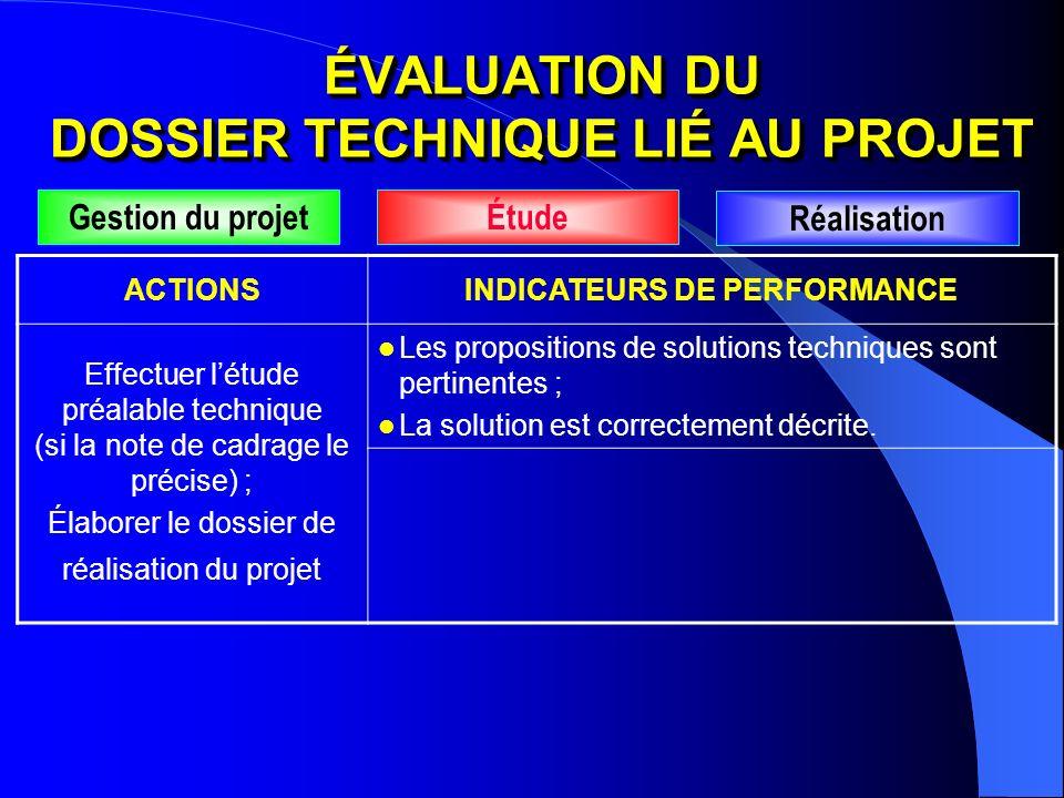 ACTIONSINDICATEURS DE PERFORMANCE Effectuer létude préalable technique (si la note de cadrage le précise) ; Élaborer le dossier de réalisation du proj