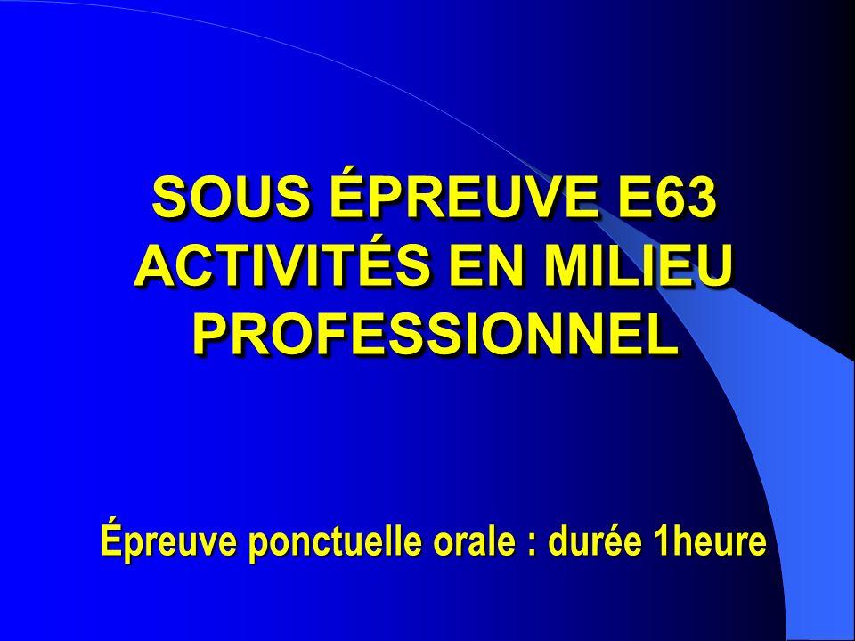 SOUS ÉPREUVE E63 ACTIVITÉS EN MILIEU PROFESSIONNEL SOUS ÉPREUVE E63 ACTIVITÉS EN MILIEU PROFESSIONNEL Épreuve ponctuelle orale : durée 1heure