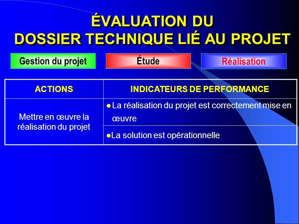ACTIONSINDICATEURS DE PERFORMANCE Mettre en œuvre la réalisation du projet La réalisation du projet est correctement mise en œuvre La solution est opé
