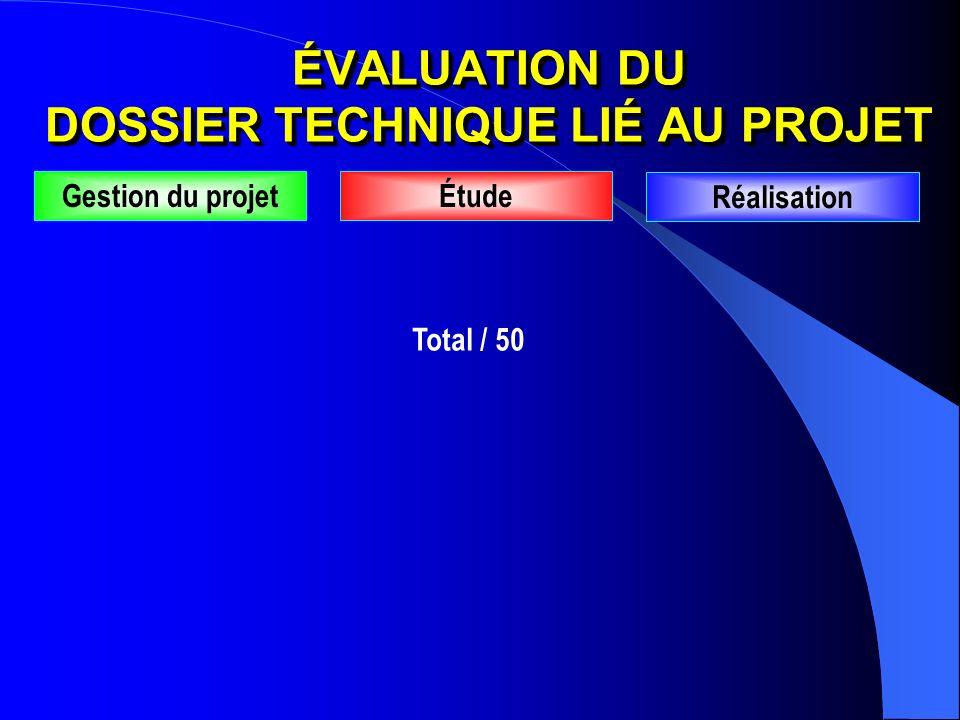 Total / 50 Gestion du projetÉtude Réalisation ÉVALUATION DU DOSSIER TECHNIQUE LIÉ AU PROJET
