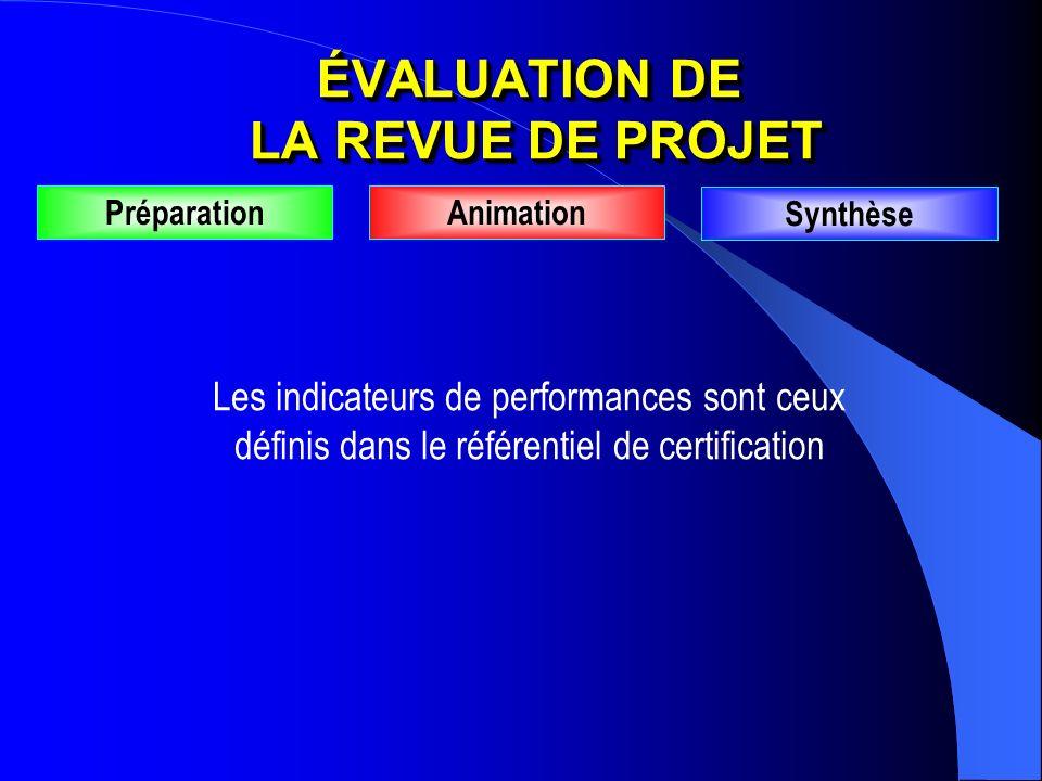 PréparationAnimation Synthèse Les indicateurs de performances sont ceux définis dans le référentiel de certification ÉVALUATION DE LA REVUE DE PROJET