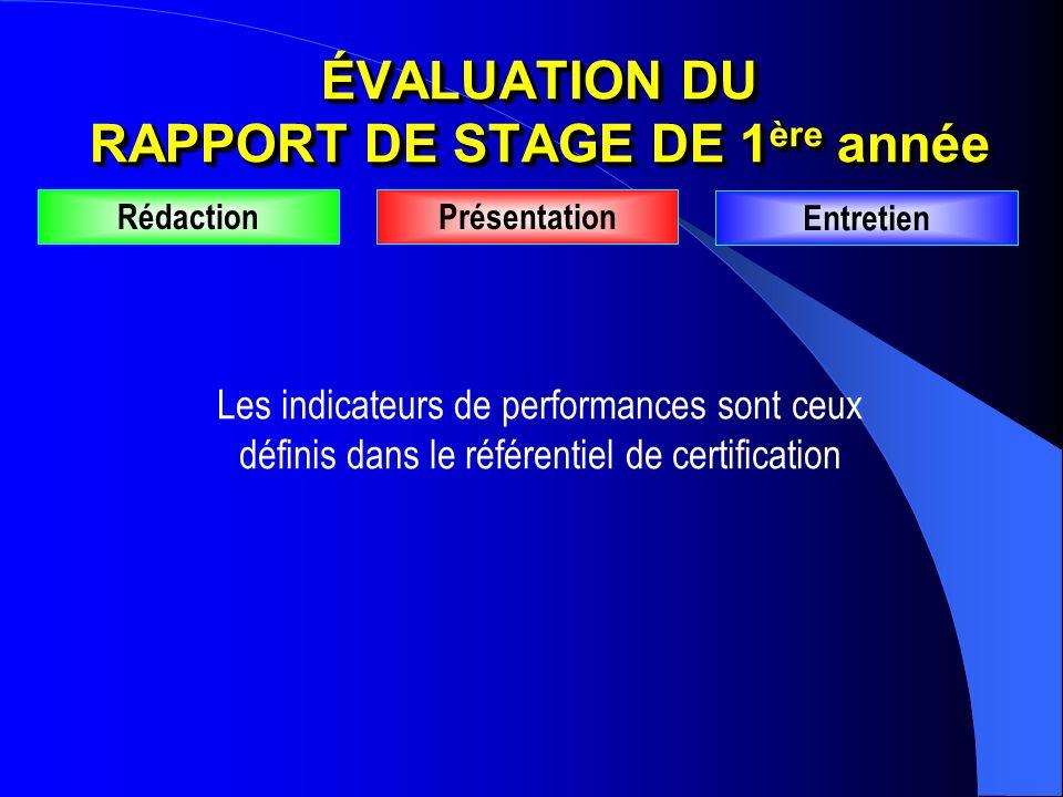 ÉVALUATION DU RAPPORT DE STAGE DE 1 ère année RédactionPrésentation Entretien Les indicateurs de performances sont ceux définis dans le référentiel de