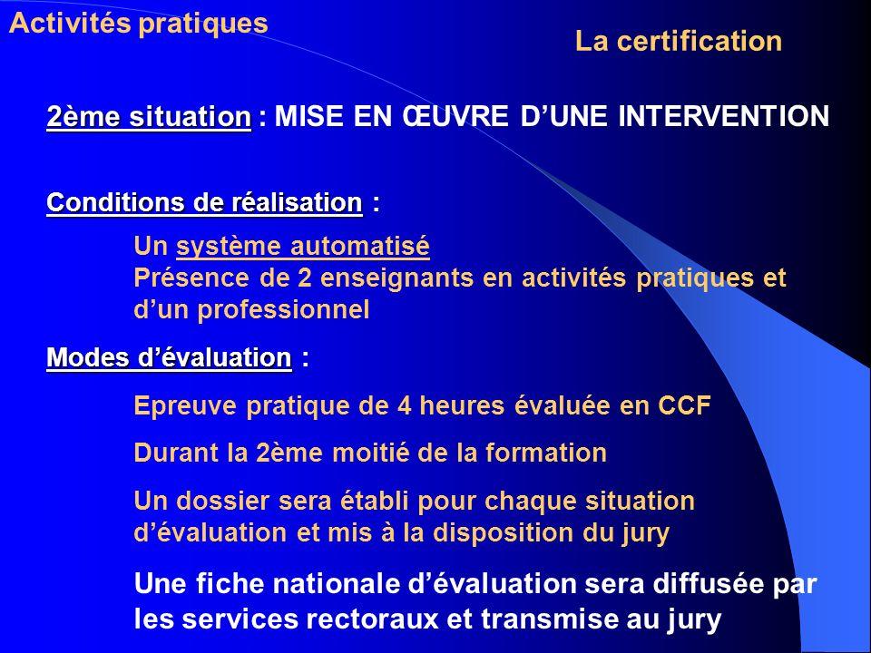 Activités pratiques La certification 2ème situation 2ème situation : MISE EN ŒUVRE DUNE INTERVENTION Conditions de réalisation Conditions de réalisati