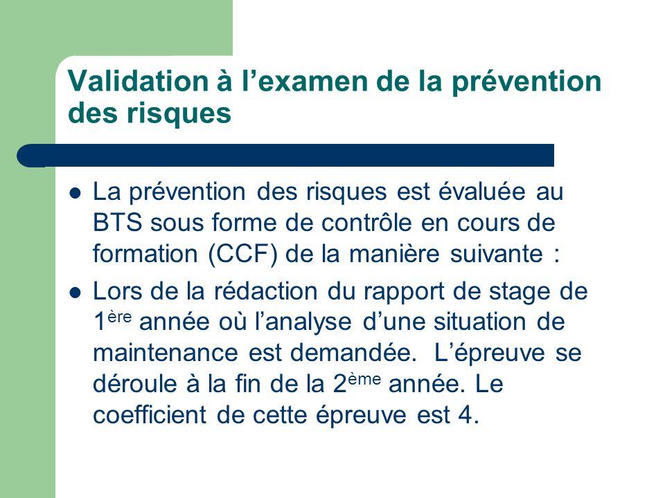 Validation à lexamen de la prévention des risques La prévention des risques est évaluée au BTS sous forme de contrôle en cours de formation (CCF) de l