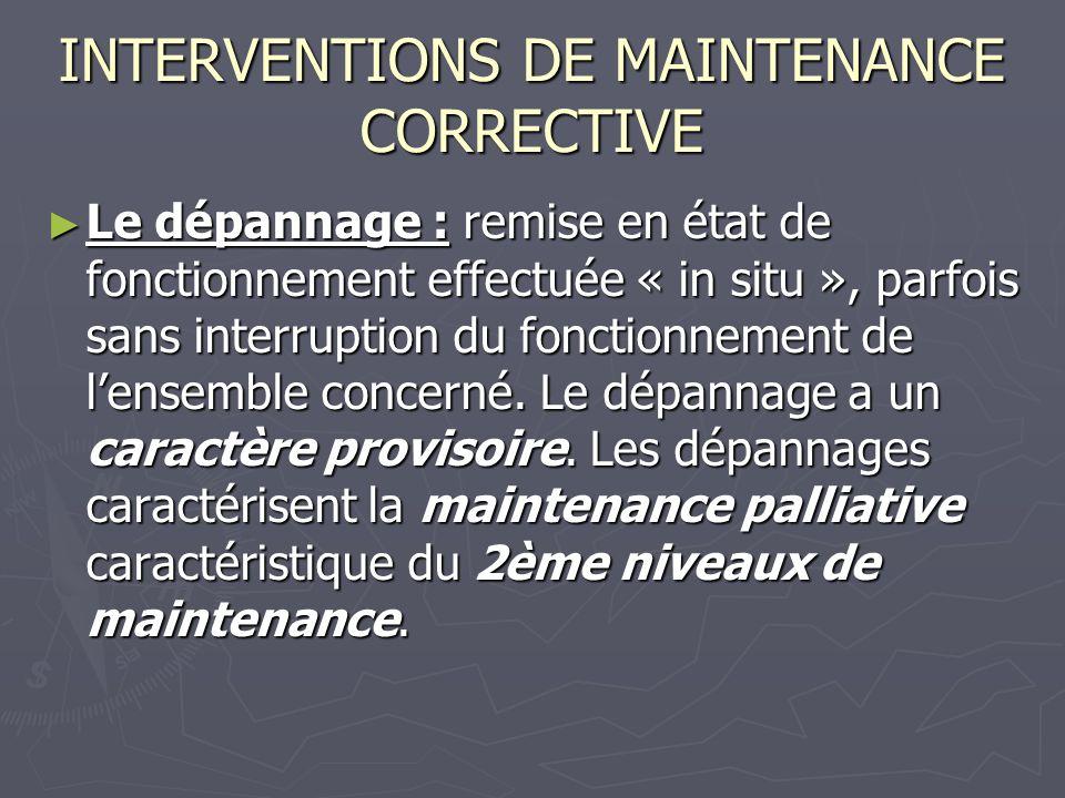 INTERVENTIONS DE MAINTENANCE CORRECTIVE Le dépannage : remise en état de fonctionnement effectuée « in situ », parfois sans interruption du fonctionnement de lensemble concerné.
