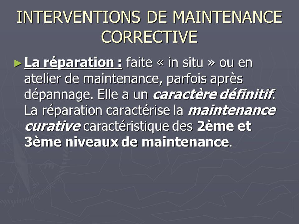 INTERVENTIONS DE MAINTENANCE CORRECTIVE La réparation : faite « in situ » ou en atelier de maintenance, parfois après dépannage.