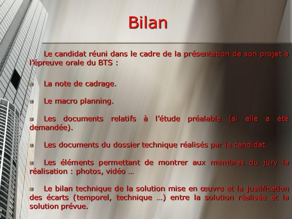 Bilan Le candidat réuni dans le cadre de la présentation de son projet à lépreuve orale du BTS : La note de cadrage.