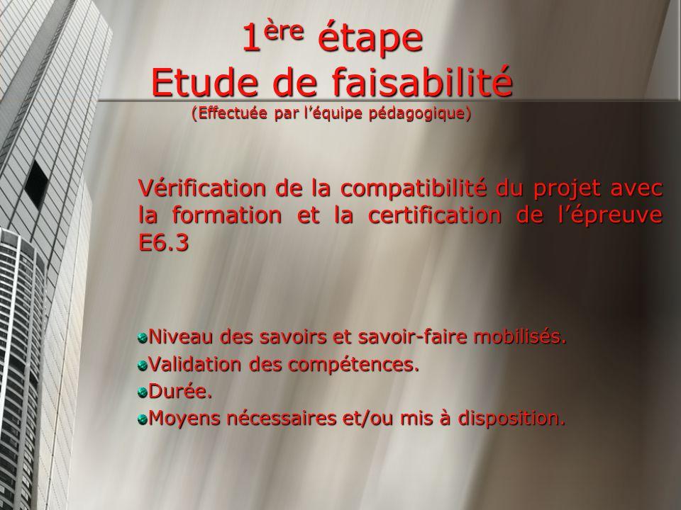 1 ère étape Etude de faisabilité (Effectuée par léquipe pédagogique) Vérification de la compatibilité du projet avec la formation et la certification de lépreuve E6.3 Niveau des savoirs et savoir-faire mobilisés.