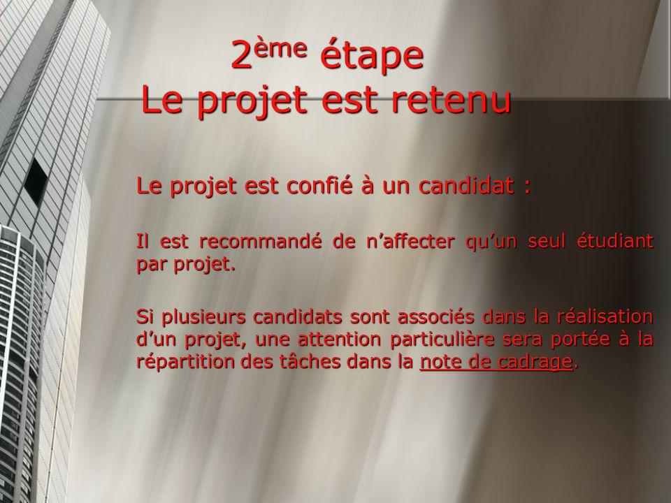 2 ème étape Le projet est retenu Le projet est confié à un candidat : Il est recommandé de naffecter quun seul étudiant par projet.