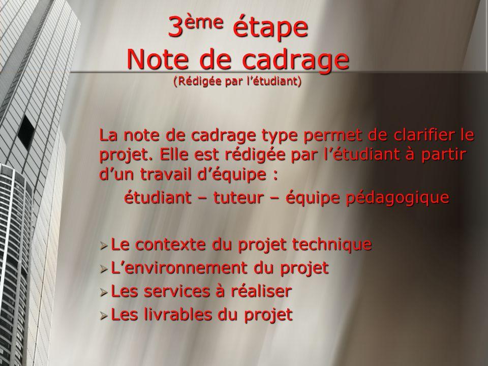 3 ème étape Note de cadrage (Rédigée par létudiant) La note de cadrage type permet de clarifier le projet.