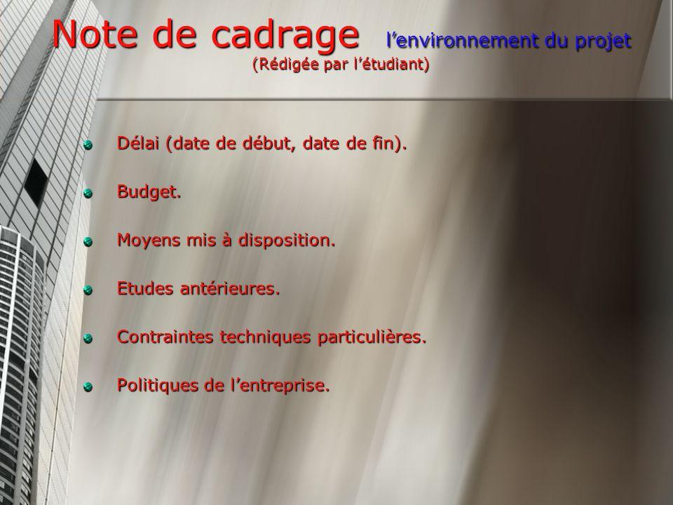 Note de cadrage lenvironnement du projet (Rédigée par létudiant) Délai (date de début, date de fin).