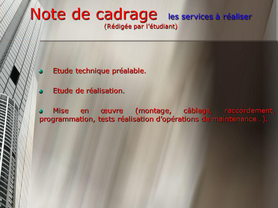 Note de cadrage les services à réaliser (Rédigée par létudiant) Etude technique préalable.