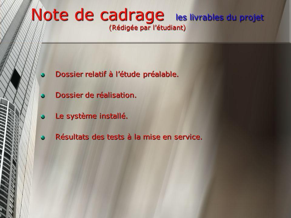 Note de cadrage les livrables du projet (Rédigée par létudiant) Dossier relatif à létude préalable.