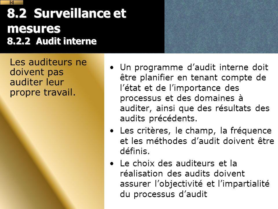 8.2 Surveillance et mesures 8.2.2 Audit interne Un programme daudit interne doit être planifier en tenant compte de létat et de limportance des processus et des domaines à auditer, ainsi que des résultats des audits précédents.