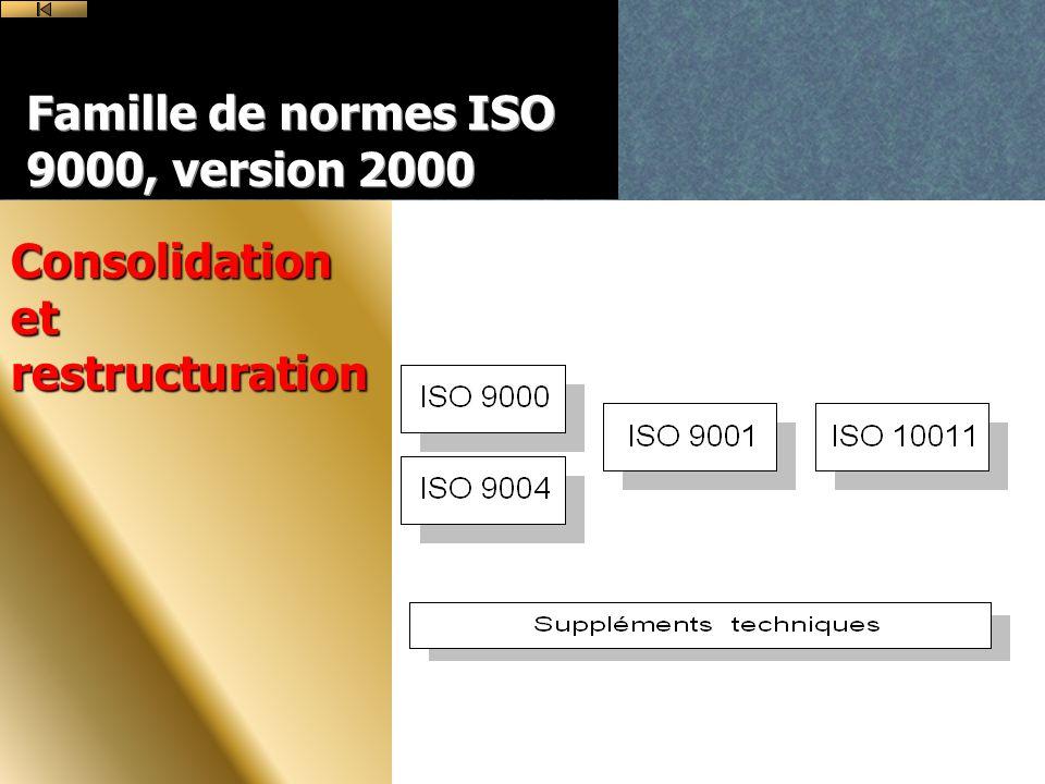 Famille de normes ISO 9000, version 2000 Consolidation et restructuration