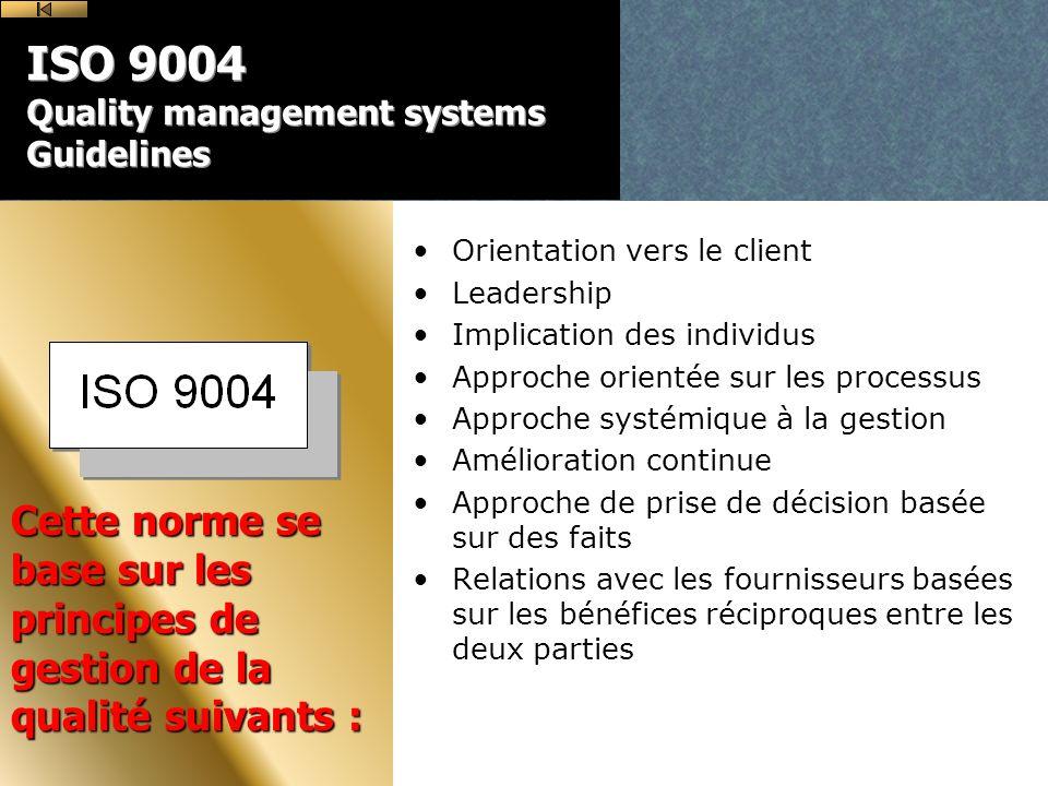 ISO 9004 Quality management systems Guidelines Orientation vers le client Leadership Implication des individus Approche orientée sur les processus Approche systémique à la gestion Amélioration continue Approche de prise de décision basée sur des faits Relations avec les fournisseurs basées sur les bénéfices réciproques entre les deux parties Cette norme se base sur les principes de gestion de la qualité suivants :