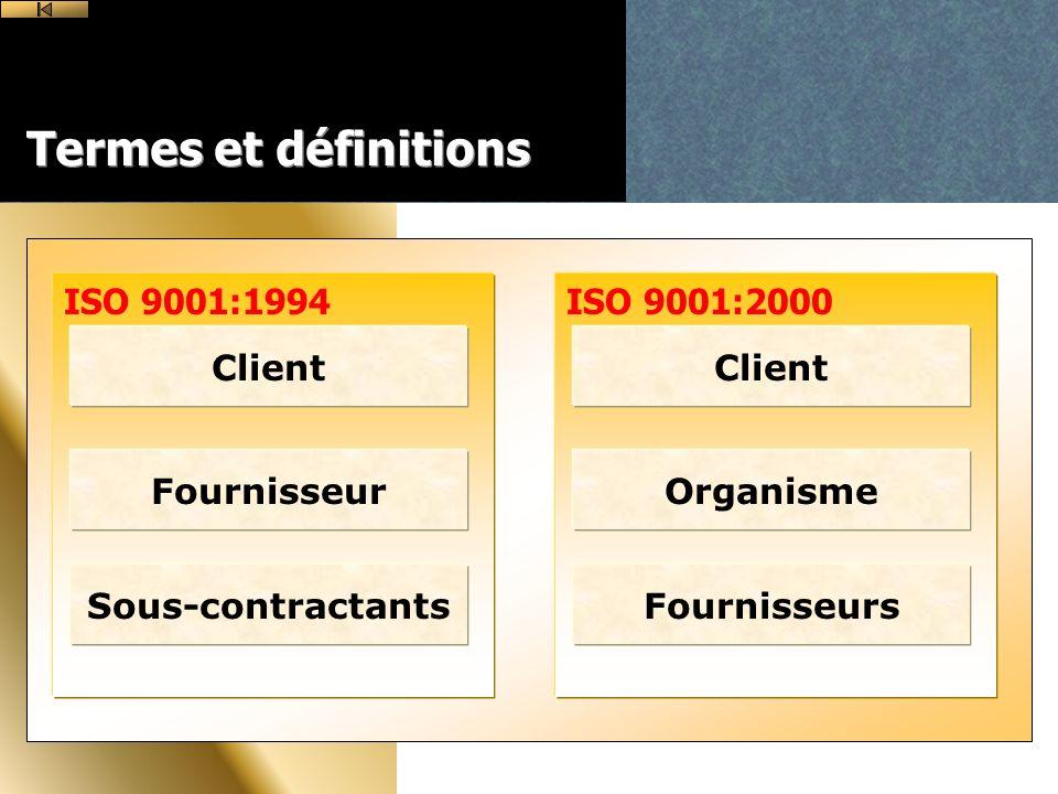 ISO 9001:2000ISO 9001:1994 Termes et définitions Client Fournisseur Sous-contractants Client Organisme Fournisseurs