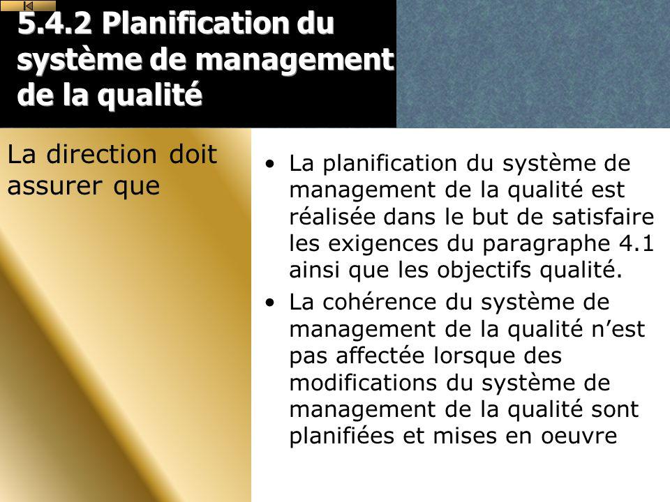 5.4.2 Planification du système de management de la qualité La planification du système de management de la qualité est réalisée dans le but de satisfaire les exigences du paragraphe 4.1 ainsi que les objectifs qualité.