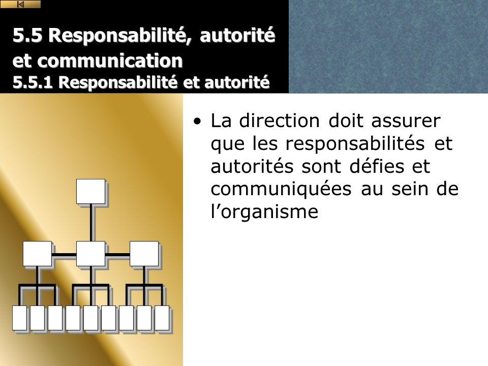 5.5 Responsabilité, autorité et communication 5.5.1 Responsabilité et autorité La direction doit assurer que les responsabilités et autorités sont défies et communiquées au sein de lorganisme