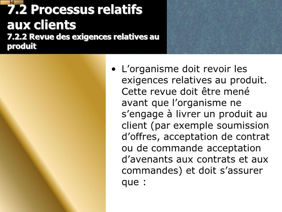 7.2 Processus relatifs aux clients 7.2.2 Revue des exigences relatives au produit Lorganisme doit revoir les exigences relatives au produit.