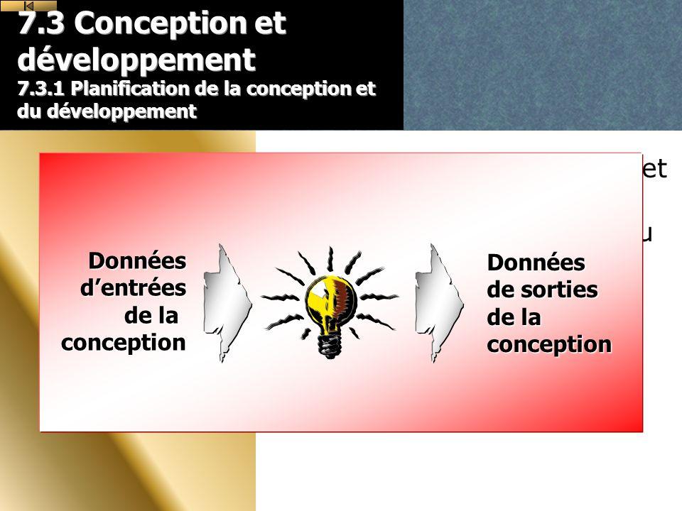7.3 Conception et développement 7.3.1 Planification de la conception et du développement Lorganisme doit planifier et maîtriser la conception et/ou le développement du produit.