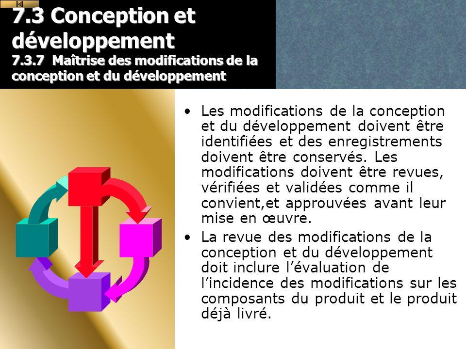 7.3 Conception et développement 7.3.7 Maîtrise des modifications de la conception et du développement Les modifications de la conception et du développement doivent être identifiées et des enregistrements doivent être conservés.