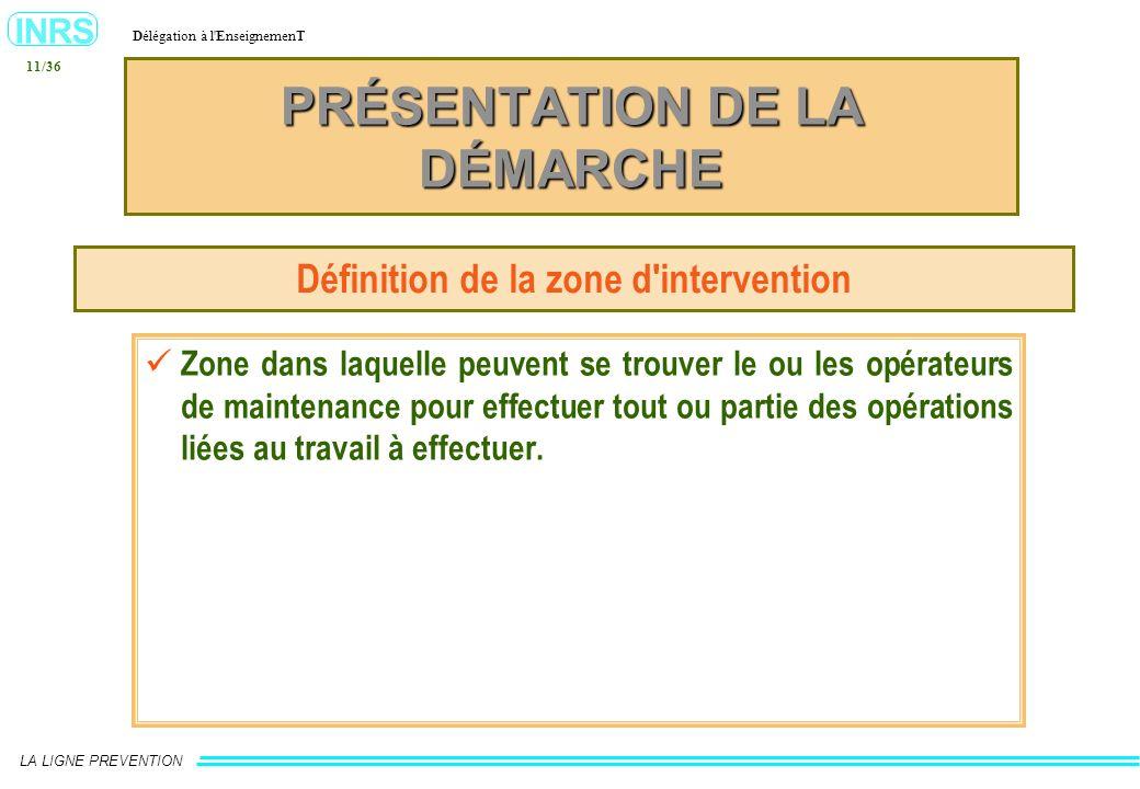 INRS Délégation à l'EnseignemenT LA LIGNE PREVENTION 11/36 PRÉSENTATION DE LA DÉMARCHE Définition de la zone d'intervention Zone dans laquelle peuvent