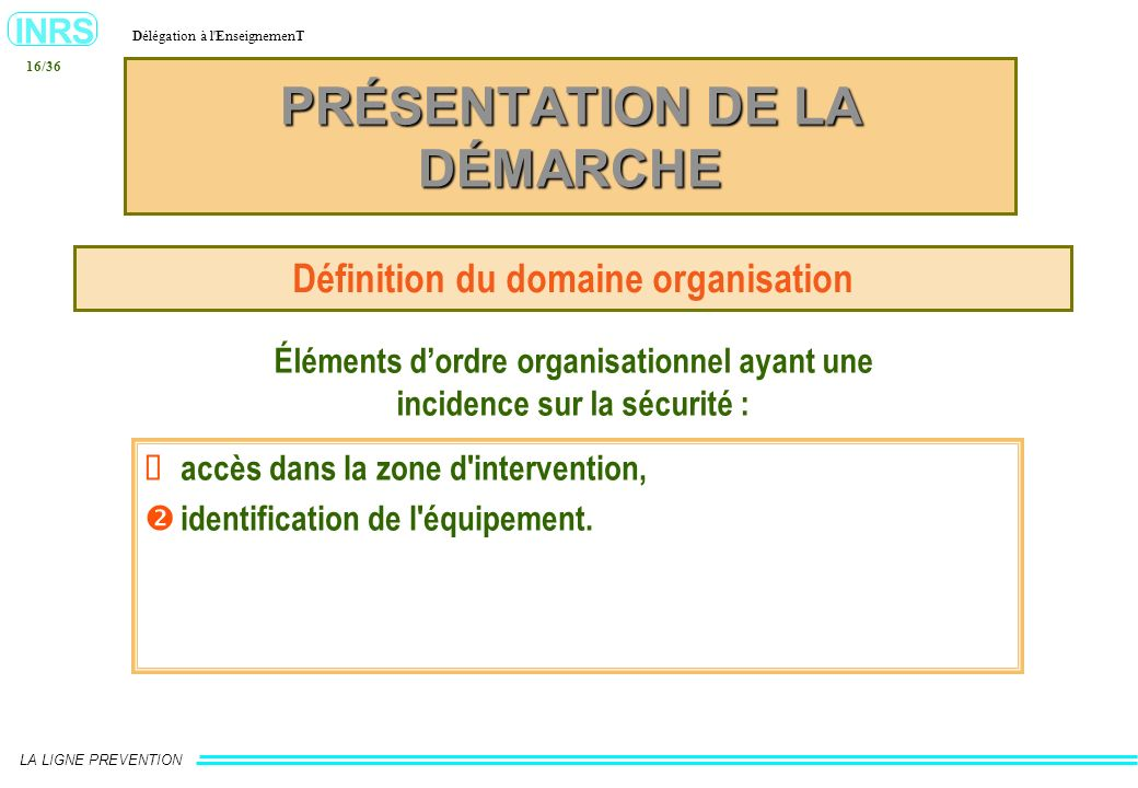 INRS Délégation à l'EnseignemenT LA LIGNE PREVENTION 16/36 Éléments dordre organisationnel ayant une incidence sur la sécurité : PRÉSENTATION DE LA DÉ