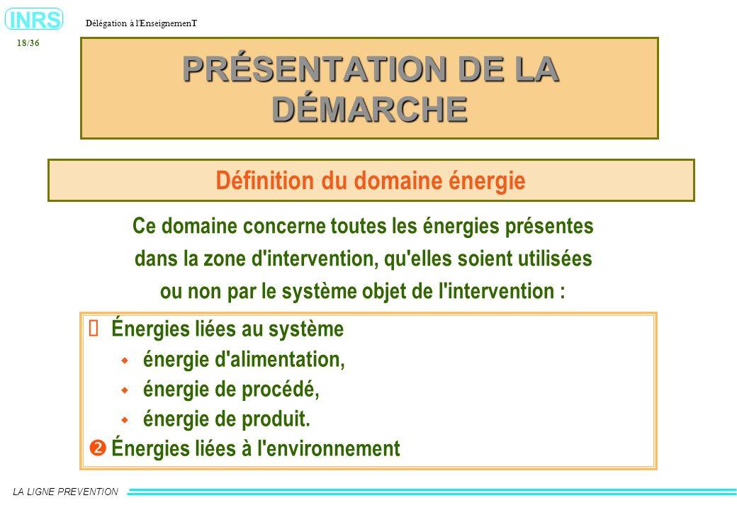 INRS Délégation à l'EnseignemenT LA LIGNE PREVENTION 18/36 PRÉSENTATION DE LA DÉMARCHE Définition du domaine énergie Ce domaine concerne toutes les én